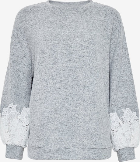 Dorothy Perkins Pulover 'GREY BRUSHED LACE SLEEVE JUMPER' | siva / bela barva, Prikaz izdelka