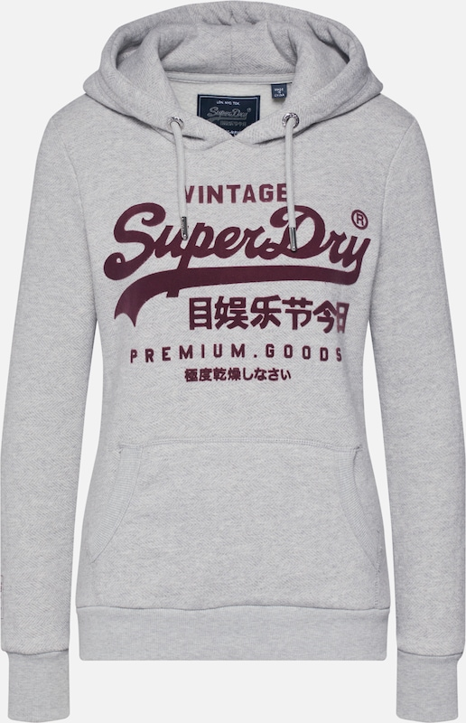 Superdry Sweatshirt 'PREMIUM GOODS HERRINGBONE ENTRY HOOD' in grau, Produktansicht