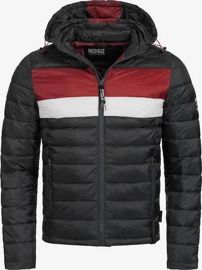 INDICODE JEANS Tussenjas 'Hampshire' in de kleur Rood / Zwart / Wit: Vooraanzicht