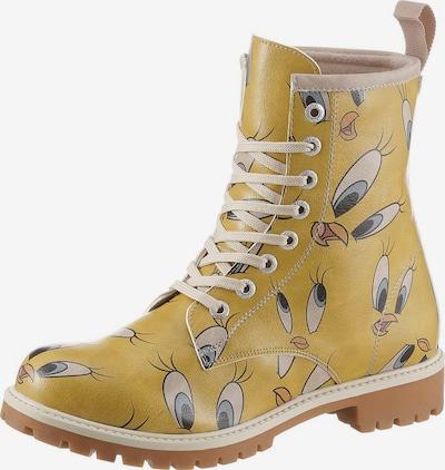 DOGO Schnürboots 'Tweety in Yellow' in nude / hellblau / senf, Produktansicht