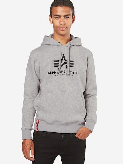ALPHA INDUSTRIES Sweatshirt 'Basic' in de kleur Grijs gemêleerd / Zwart: Vooraanzicht