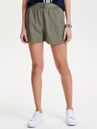 ONLY Shorts 'ONLARIZONA BELT LYOCELL SHORTS PNT' in oliv, Modelansicht