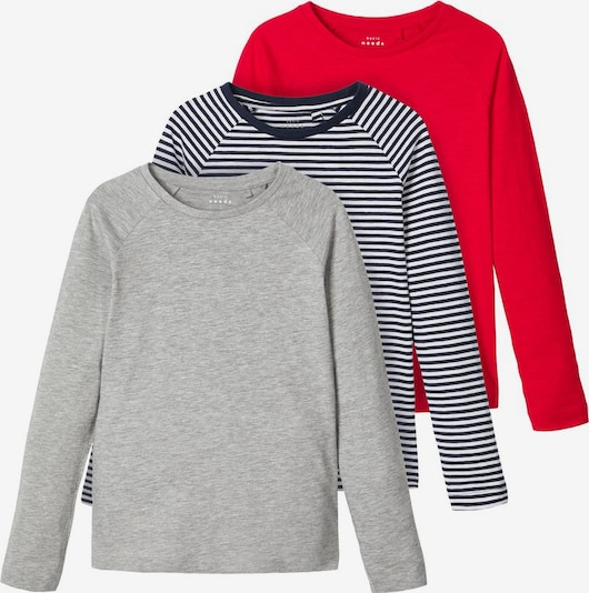 NAME IT Longsleeve in navy / grau / rot, Produktansicht