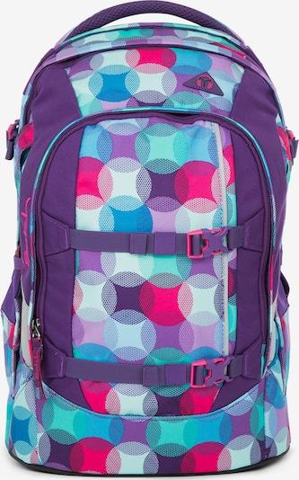 Satch Schulrucksack in cyanblau / hellblau / lila / dunkelpink / weiß, Produktansicht