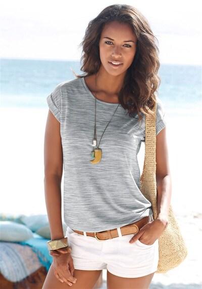 BEACH TIME T-Shirt in grau / lachs: Frontalansicht