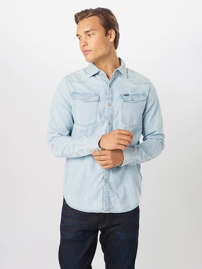 G-Star RAW Hemd '3301' in blue denim, Modelansicht