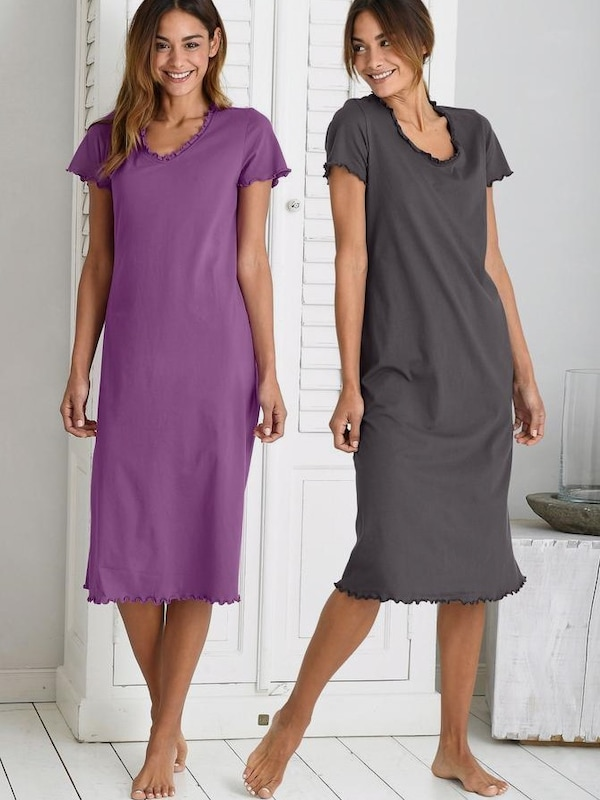 Vivance Dreams Long Nightshirts (2 Pieces) With Kräuselsäumen