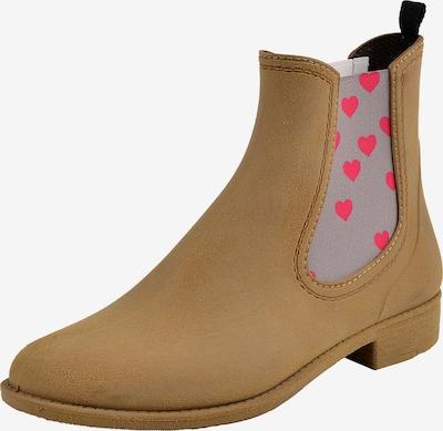 Crickit Chelsea Boot 'MIA' mit pinken Herzchen in braun, Produktansicht