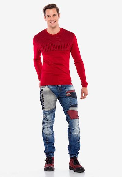 CIPO & BAXX Pullover in rot / schwarz: Frontalansicht