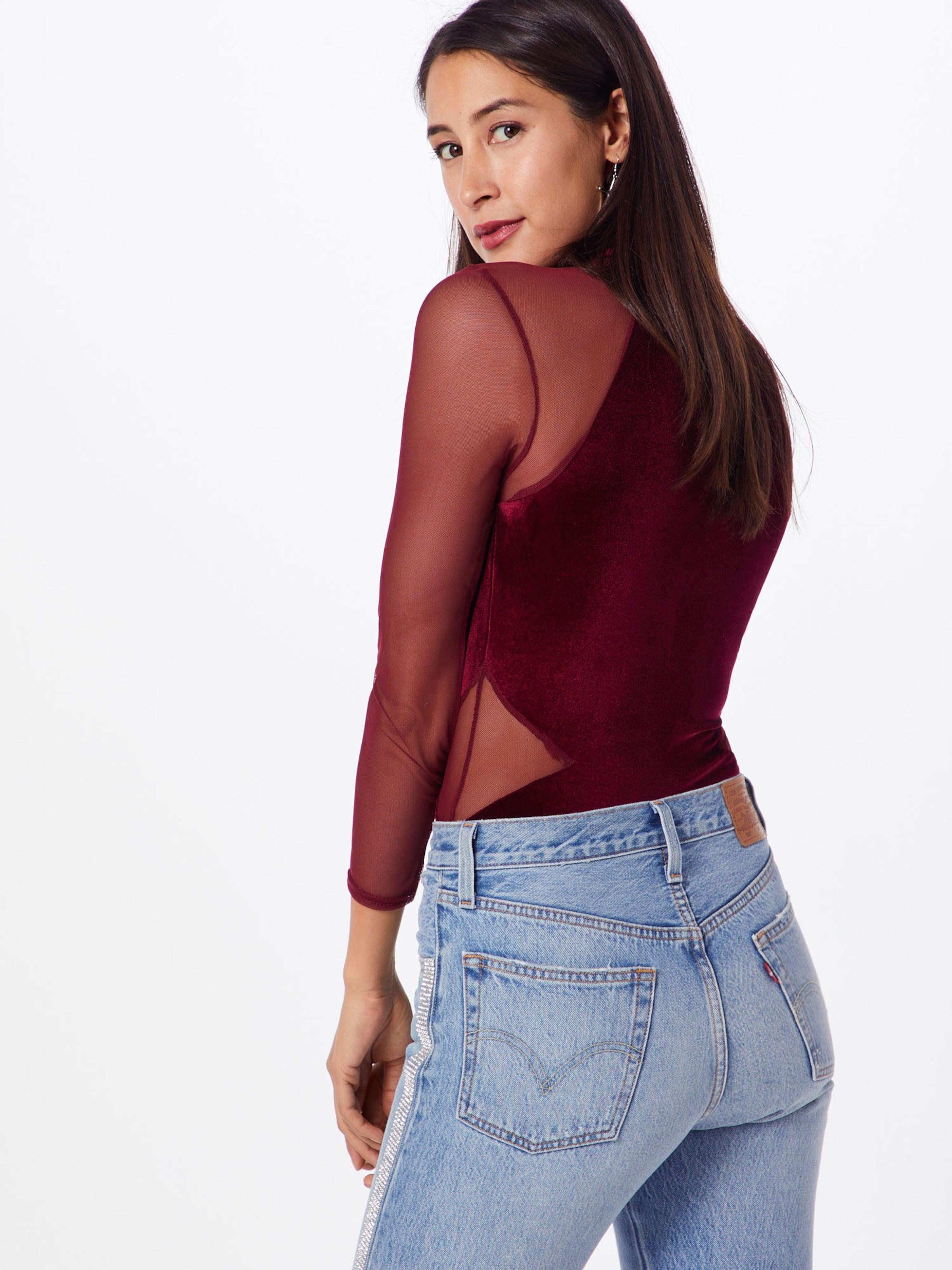 Bodysuit Sleeves' Missguided 'velvet Lace T En Bourgogne shirt uT1lJ3K5Fc
