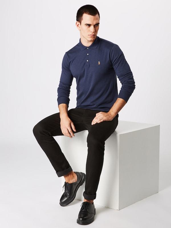 Shirt Blauw 'lskcslm12 knit' Gemêleerd In Polo Ralph Lauren long Sleeve Pk8n0wO