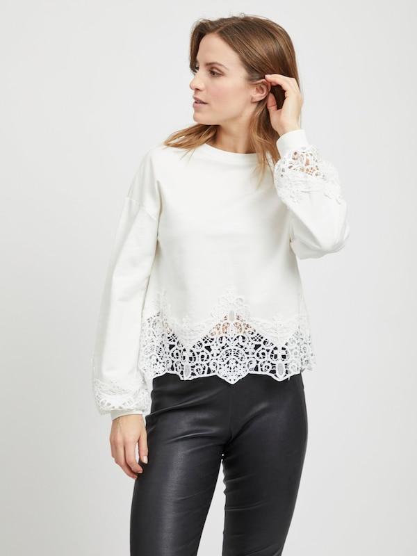 Sweat 'viselace' Naturel Blanc shirt Vila En rCoBexd