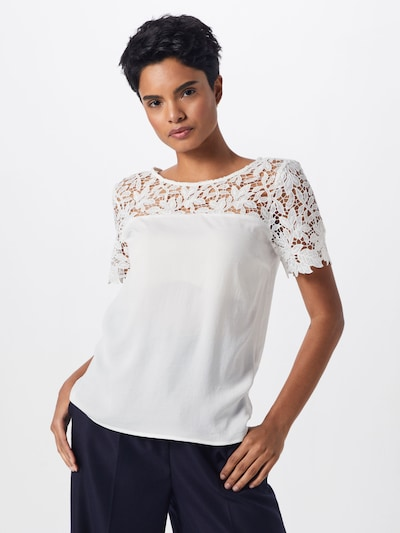 VILA Damen - Shirts & Tops 'VIMELLI BLOCKED LACE TOP' in weiß: Frontalansicht