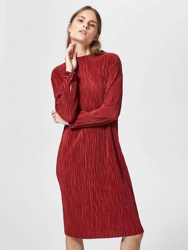 selected femme kleid mit langen rmeln plissee in rot. Black Bedroom Furniture Sets. Home Design Ideas