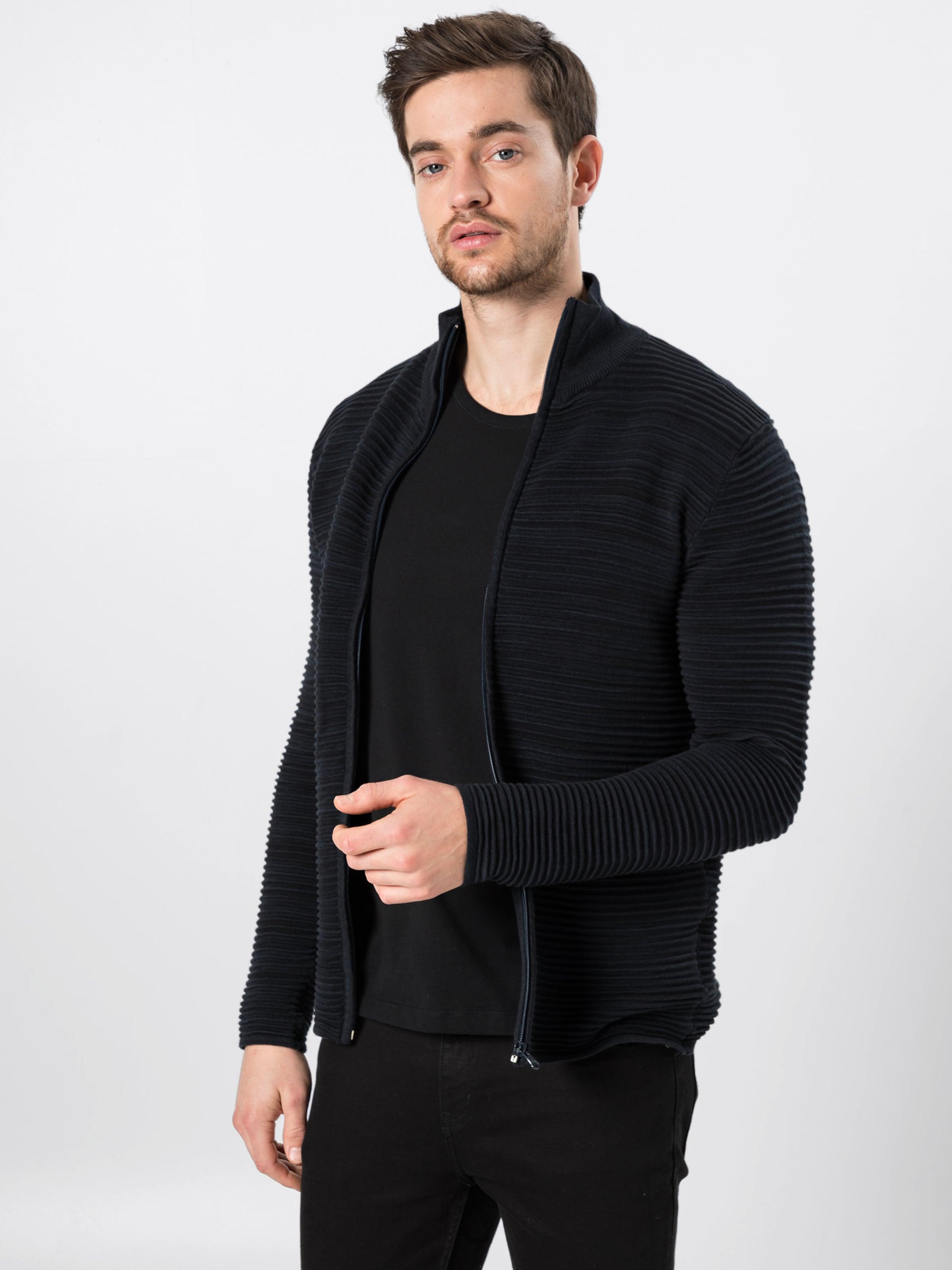 Dunkelblau solid In Zip' Strickjacke 'knitStruan DIW2eH9EY