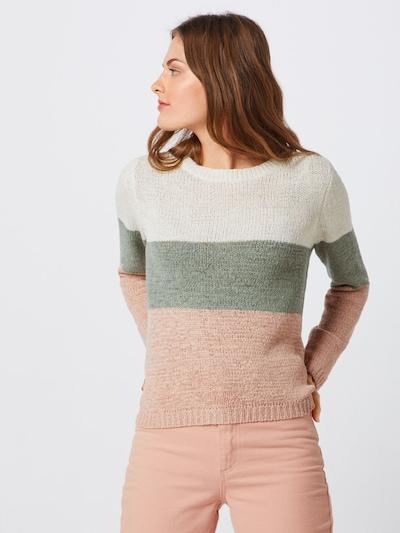 ONLY Strickpullover 'GEENA' in grün / rosa / weiß, Modelansicht