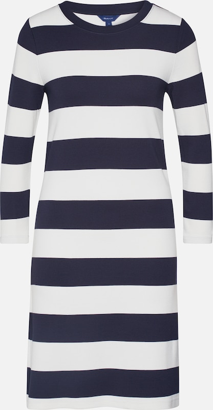 GANT Kleid 'D2. BARSTRIPED JERSEY DRESS' in dunkelblau / offwhite, Produktansicht