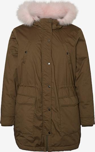 Junarose Lange Parka Jacke in khaki / rosa: Frontalansicht