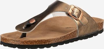 JOLANA & FENENA T-Bar Sandals in Bronze
