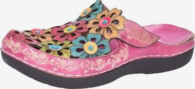 Laura Vita Pantoletten in türkis / gelb / pastellorange / pink, Produktansicht