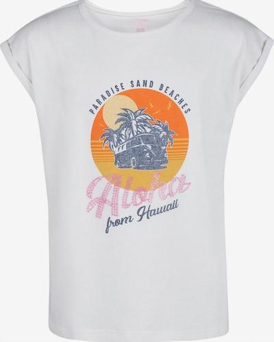 WE Fashion T-Shirt 'Carlee' in taubenblau / pastellorange / dunkelorange / rosa / weiß, Produktansicht
