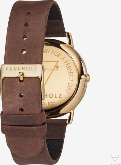 Kerbholz Armbanduhr 'Fritz' in pueblo / gold: Rückansicht