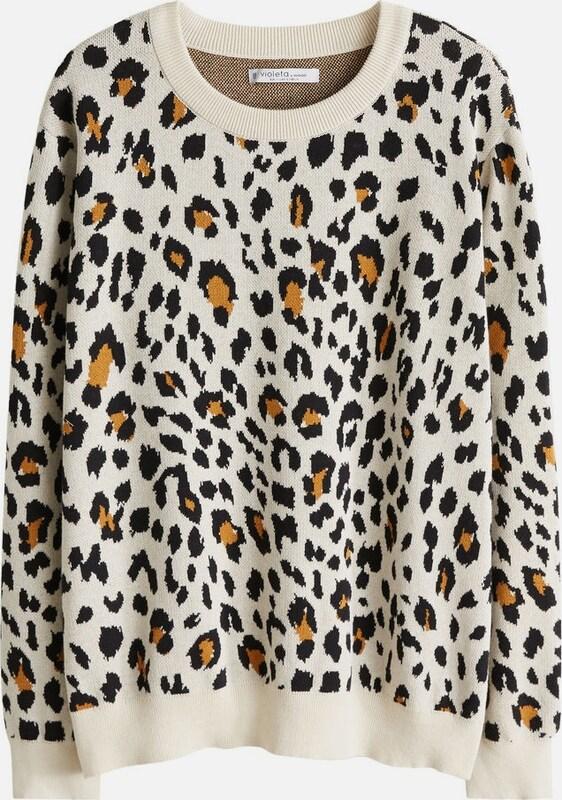 lilaA by Mango Pullover 'Zoo' in braun braun braun   schwarz   weiß  Neu in diesem Quartal 6a2773