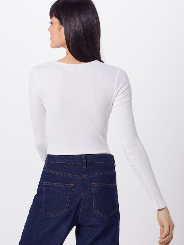 'ribbed En Missguided Blanc T Front shirt Tie Bodysuit' PkX8wO0n