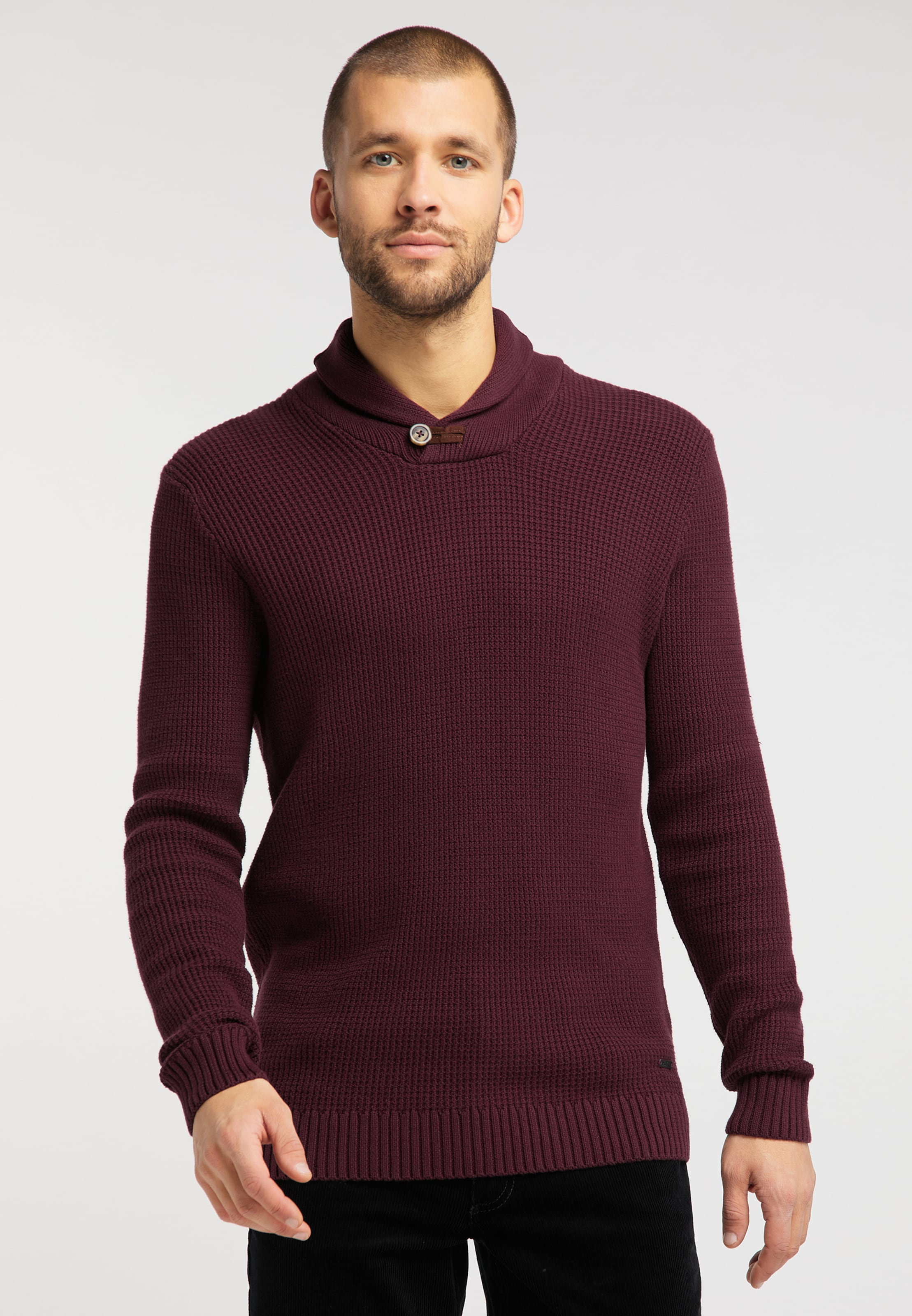 MUSTANG Pullover ' Emil SC Structure ' in bordeaux Unifarben 1008646000007