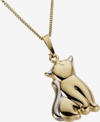 FIRETTI Kettenanhänger 'Katze, glanzvoll' in gold / silber, Produktansicht
