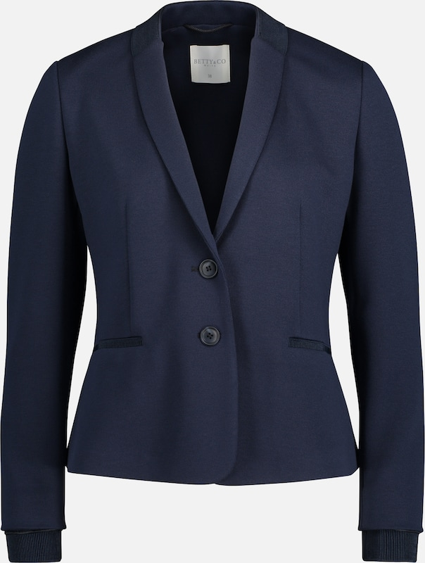 Betty & Co Sweatblazer mit Rippbündchen in blau, Produktansicht