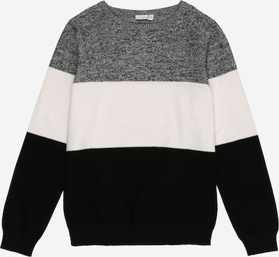 NAME IT Pullover 'VOHAN' in schwarz / schwarzmeliert / weiß: Frontalansicht