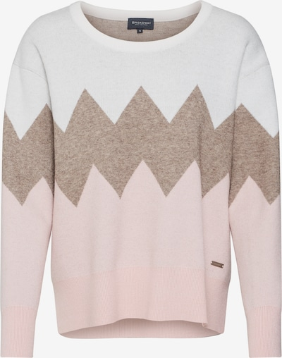 BROADWAY NYC FASHION Pullover 'Kaitlyn' in grau / rosa / weiß, Produktansicht