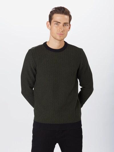 SELECTED HOMME Pullover 'Haiden' in dunkelgrün / schwarz: Frontalansicht