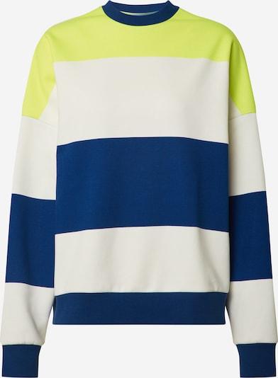 EDC BY ESPRIT Sweatshirt 'Boxy block' in dunkelblau / gelb / weiß, Produktansicht