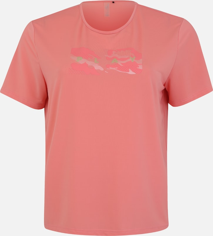 Only Play Curvy Damen - Sport-Shirt 'ONPJOY LIFE LOOSE SS TRAINING-CURVY' in rosa: Frontalansicht