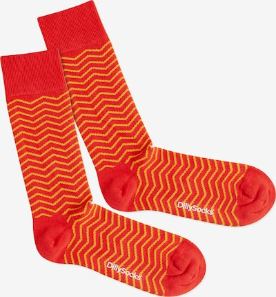 DillySocks Socken 'Square Sunset' in gelb / orange / rot, Produktansicht