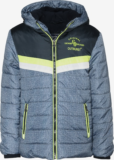 Outburst Winterjacke in blaumeliert / neongrün / schwarz / weiß, Produktansicht