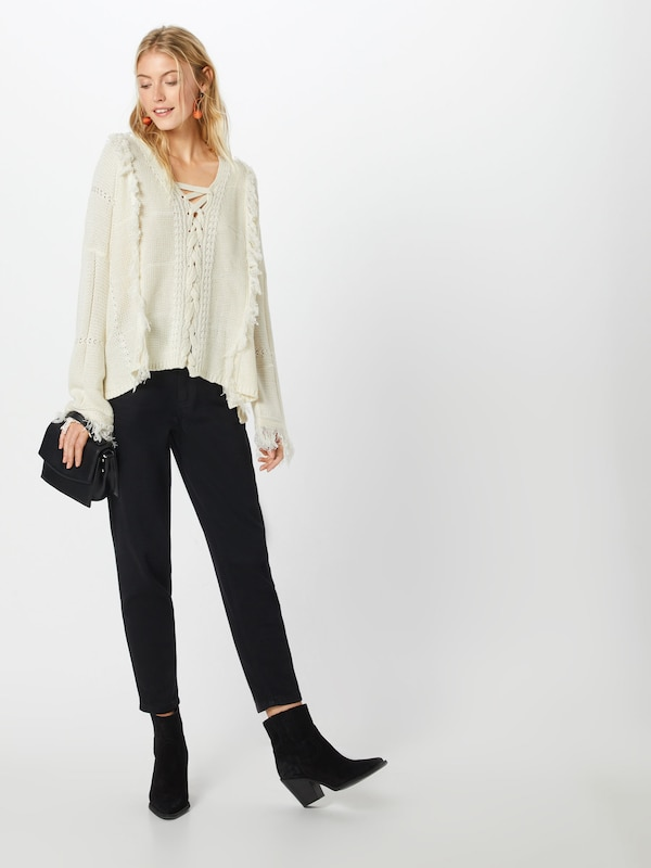 Jumper' over Fringe En Crème Boohoo Lace Pull Front 'annie Up rxWoedCB