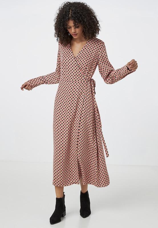 HALLHUBER Kleid in hellbeige / altrosa / schwarz / weiß ...