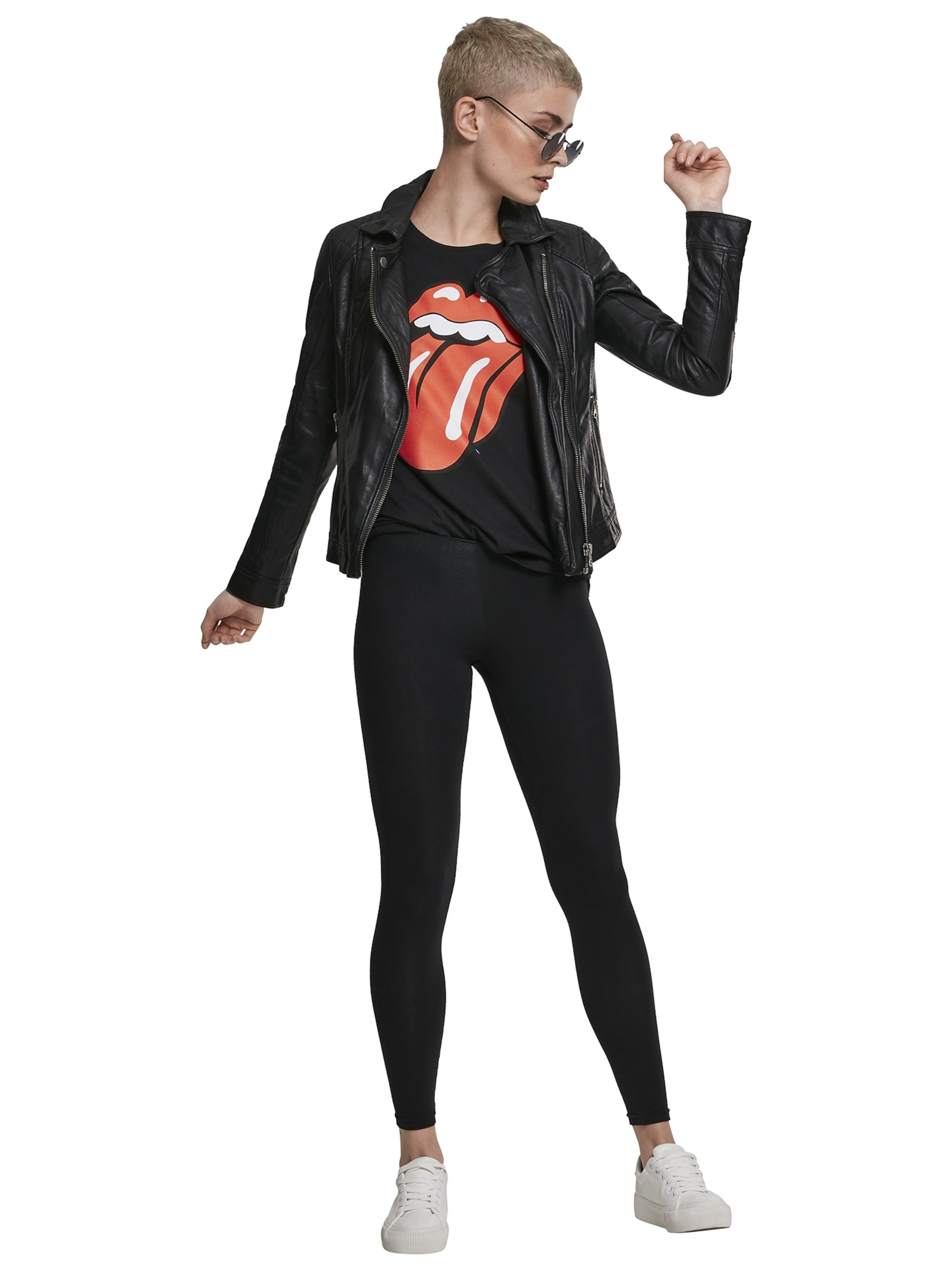 Merchcode Póló 'Ladies Rolling Stones Tongue Tee' piros / fekete színben