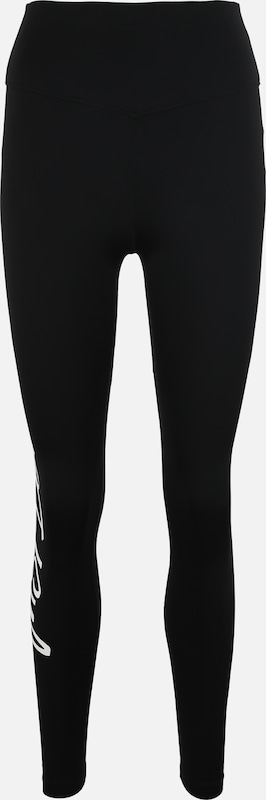 NIKE Sport-Leggings 'Just Do It' in schwarz / weiß: Frontalansicht