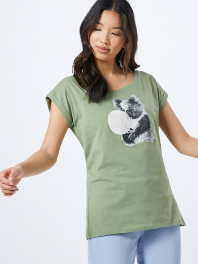 Iriedaily Tričko 'Koala Bubble' - šedá / olivová / bílá: Pohled zepředu