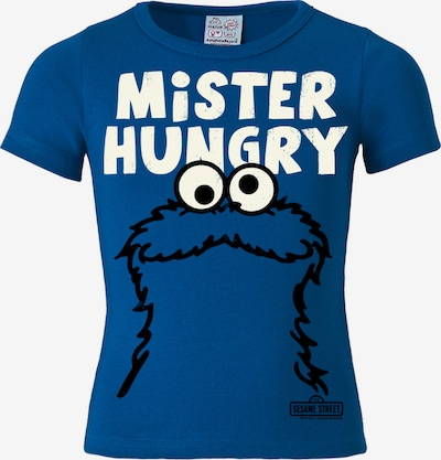 LOGOSHIRT T-Shirt 'Krümelmonster - Mister Hungry' in blau / weiß, Produktansicht