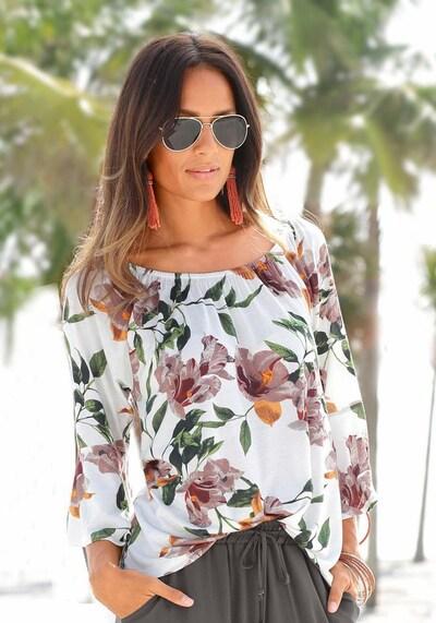 LASCANA Strandshirt in dunkelgrün / dunkelrot / weiß, Produktansicht