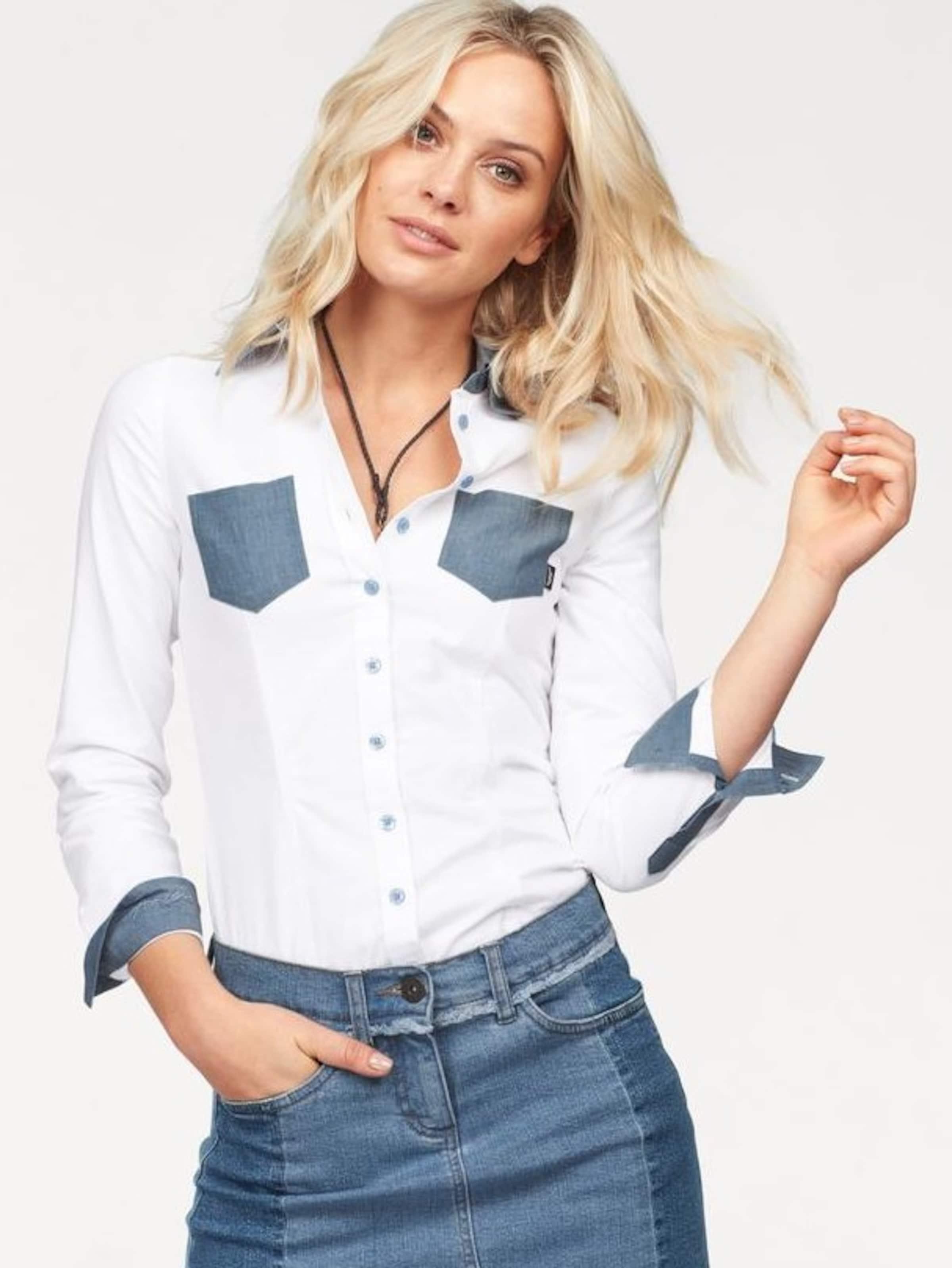 ARIZONA Hemdbluse mit Einsätzen in Denim Optik Billig Verkauf Eastbay Mit Mastercard Günstigem Preis Beliebt Beste Angebote  Wo Zu Kaufen N8YYb6M