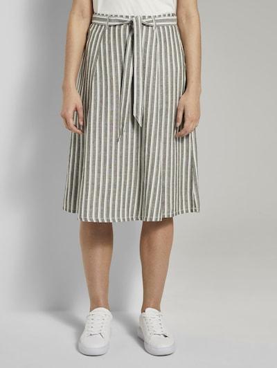 TOM TAILOR Röcke Gestreifter Midirock aus Leinengemisch in grau, Produktansicht
