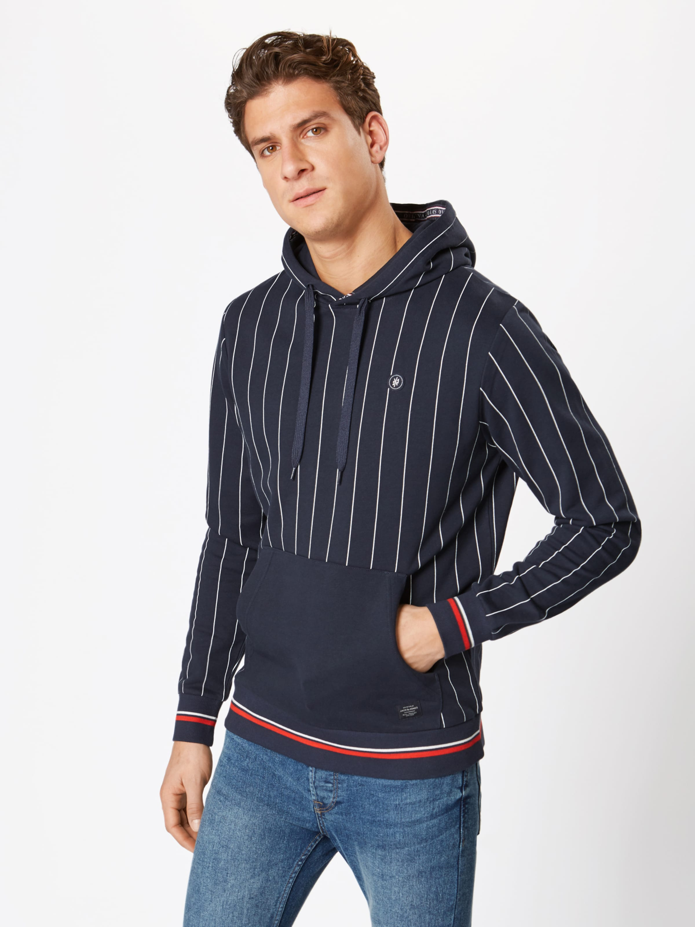 Jones Sweat En FoncéBlanc 'pinstripe' Bleu shirt Jackamp; reCoxBd