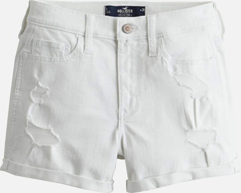 HOLLISTER Shorts 'HR 3IN WHITE DESTROY DBL ROLL 1CC' in white denim, Produktansicht