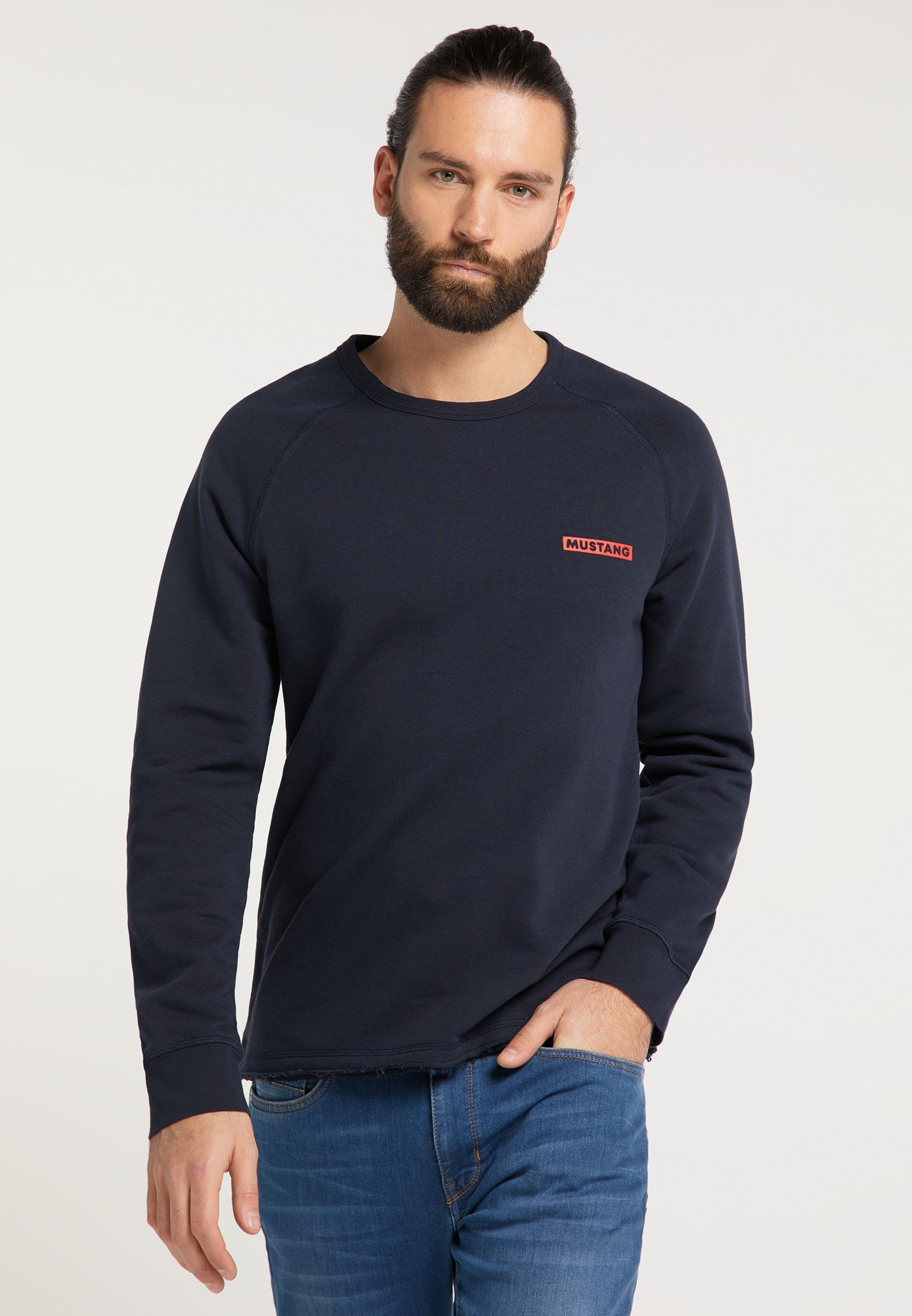 MUSTANG Sweatshirt ' Ben C ' in dunkelblau Sweatstoff 1008540000004
